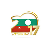 Year 2017 with Bulgaria Flag pattern. Happy New Year Design on white background. Vector Illustration.