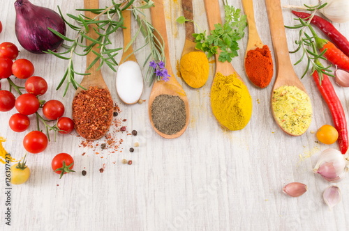 Different spices in wooden spoons Poster