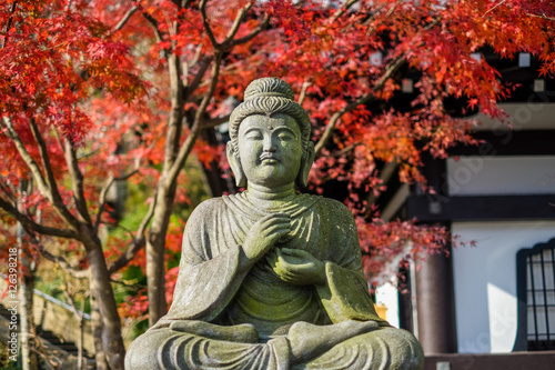 "Poster Buddha statue ""Taishakuten"" Lord of the Center, Commander of Four Heavenly Kings"
