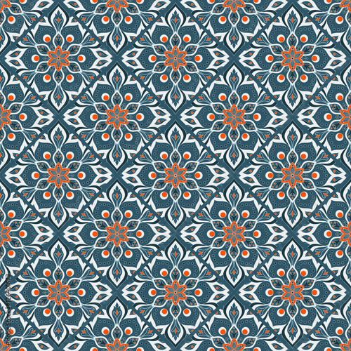 Cotton fabric Seamless hand drawn mandala pattern.
