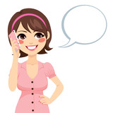 Fototapety Beautiful brunette young woman talking with smartphone and speech bubble
