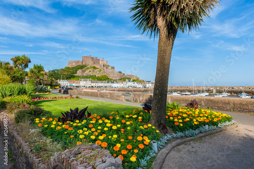 Gorey Castle and Harbour of St Martin, Jersey, Channel Islands, UK at low tide.