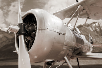 Engine and propeller close up from retro airplane