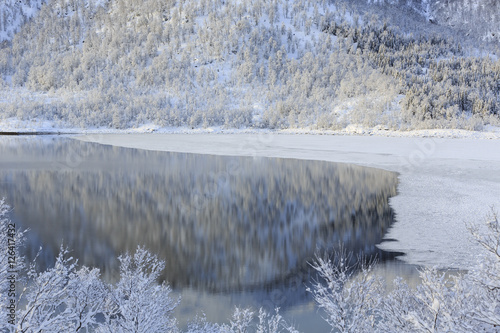 Poster Winterlandscape on Kanstadfjord on Hinnoya Island, Nordland county, Norway