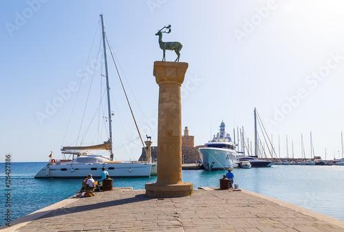 Deurstickers Canarische Eilanden Ancient columns in port of Rhodes. Greece