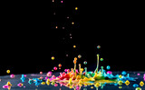splashing color ink on black background - 126436249