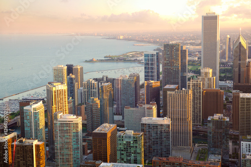 Chicago skyscrapers sunset aerial view, United States