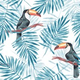 Palm leaves and Toucan. Watercolor seamless pattern 3 - 126440697