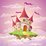 Fantasy flying island with fairy tale castle in clouds - 126443028