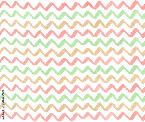 Watercolor stripes background, chevron. - 126458821