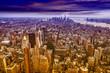 Aereal view of Manhattan at sunset