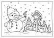 Leinwandbild Motiv Ausmalbild Winter