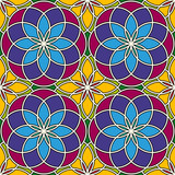 Bright stained glass background. Colorful kaleidoscope seamless pattern with decorative round ornaments. Floral motif.