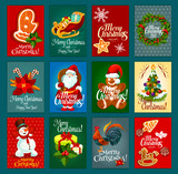 Christmas Day greeting card set for festive design