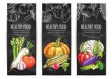Vegetables. Vegetarian vector sketch posters
