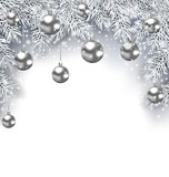 New Year Snowing Background with Silver Christmas Balls