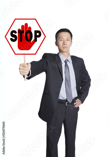 Poster man holding stop sign