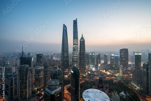 Poster Elevated view of Lujiazui, shanghai - China.