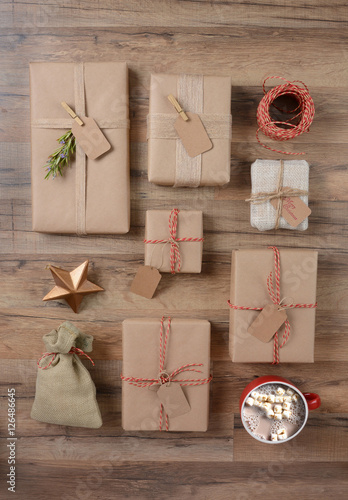 Rustic Christmas Presents and Cocoa