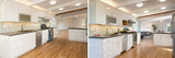 Before and After photo of newly installed and decorated modern w - 126493050
