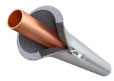 Copper pipe insulating concept with the zipper - 3D illustration