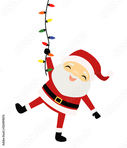 Santa Claus hanging from a string of Christmas lights