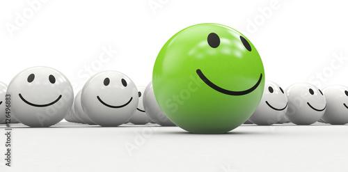 Grüner 3D Smiley als kreativer Anführer