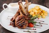 lamb chop meal with potato - 126500874