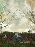 fantasy forest with birds 3D rendering