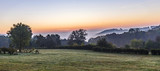 sunrise in german countryside with hills in the Eifel