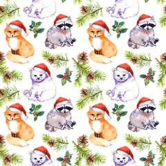 Christmas background - cute animals in red santa's hats, pine branches. Repeating pattern. Watercolor