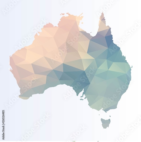 Polygonal map of Australia Poster
