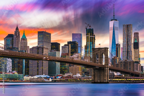 Plexiglas Brooklyn Bridge New York City Skyline