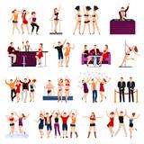 Dancing Club People Flat Icons Set