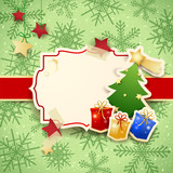 Christmas background with label, tree and gifts