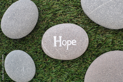 Poster Hope. Bunch of stones lying on green grass
