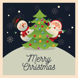 Santa and snowman cartoon with pine tree icon. Christmas season card decoration and celebration theme. Colorful design. Vector illustration