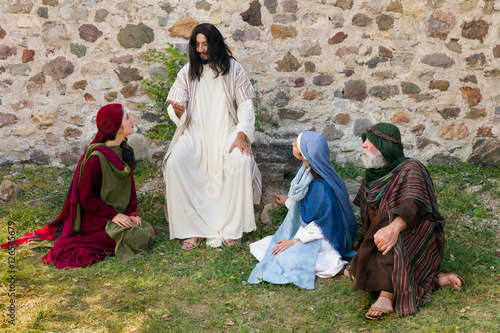Jesus preaching to the people Poster