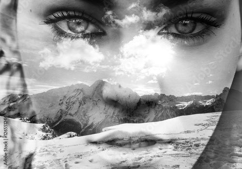 Monochrome double exposure of closeup girl portrait and mountainscape - 126551246