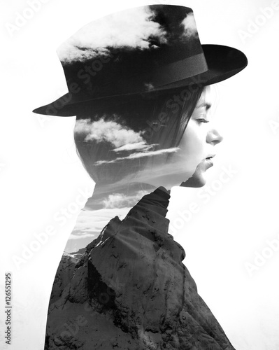 Monochrome double exposure of girl wearing hat profile and mountainscape - 126551295