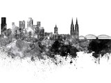 Cologne skyline in black watercolor on white background - 126553071