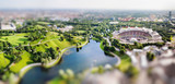 Panoramic view at Stadium of the Olympiapark in Munich, Germany. Miniature tilt shift lens effect.