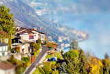 Panoramic view on Monte Bre, Lugano, Switzerland. Miniature tilt shift lens effect.