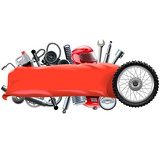 Fototapety Vector Banner with Motorcycle Spares