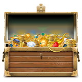 Vector Wooden Chest with Gold