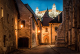 Lightened castle over night old town of Bratislava, Slovakia