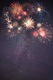 Fototapety Holiday Fireworks in Night Sky
