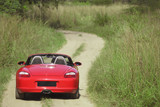 Red sports car on rural road