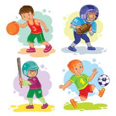 Set icons of boys playing basketball, football, baseball