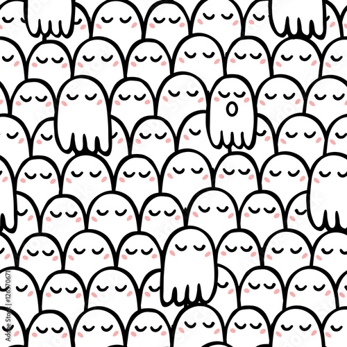 Materiał do szycia Seamless vector pattern of cute ghosts with a blush superimposed on each other. One ghost with an open mouth.
